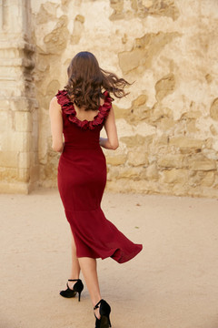 ANASTACIA DRESS-BURGUNDY