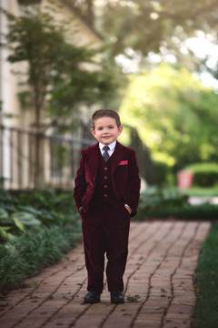 BOYS BARCLAY SUIT BURGUNDY VELVET 3PC SET