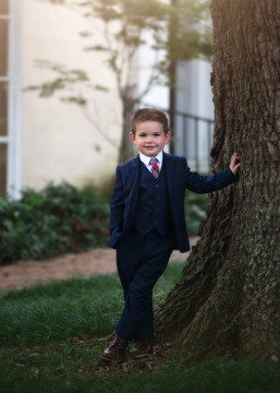 BOYS NAVY BLUE BROOKS SUIT 3PC. SET