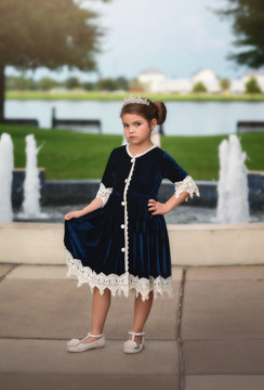 ROSALINA DRESS NAVY VELVET