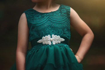 """VELADORA GOWN & BELT SET EMERALD"""