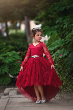 AINSLEY DRESS & BELT SET CRIMSON