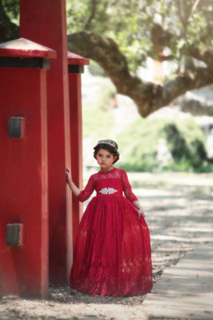 """""BELLA RAFAELA GOWN & BELT CRIMSON"""""