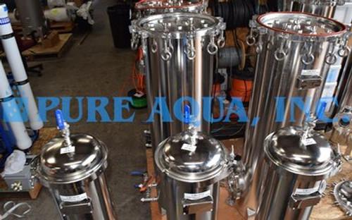 Carcasa de filtro de cartucho múltiple de acero inoxidable 4 x 350,000, 3 x 260,000 y 3 x 115,200 GPD - Kuwait