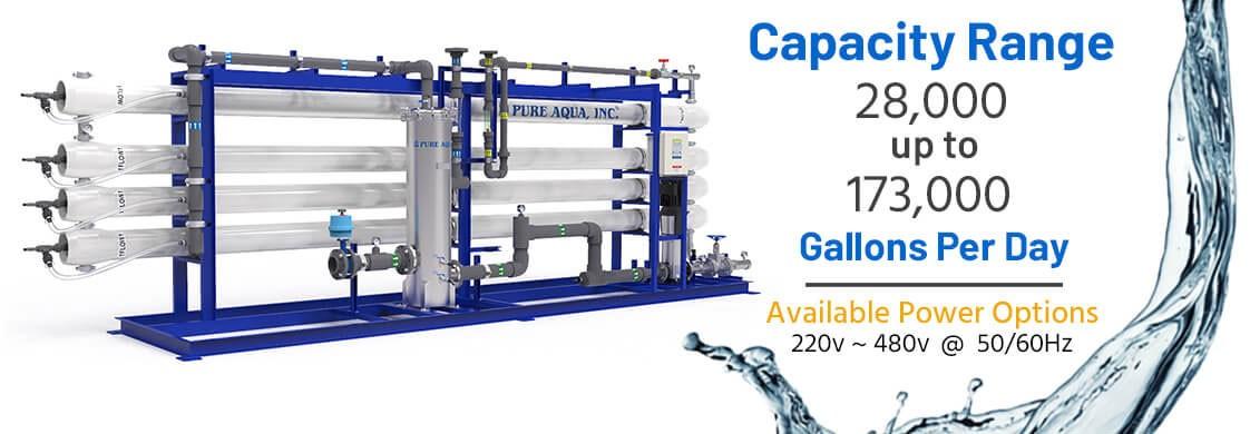 Sistema Osmosis Inversa Industrial de Agua Salobre 28,000 - 173,000 GPD