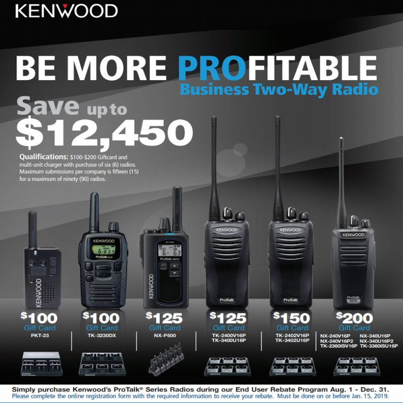 2019 Kenwood Promo $125-$200 back when you buy 6 radios or