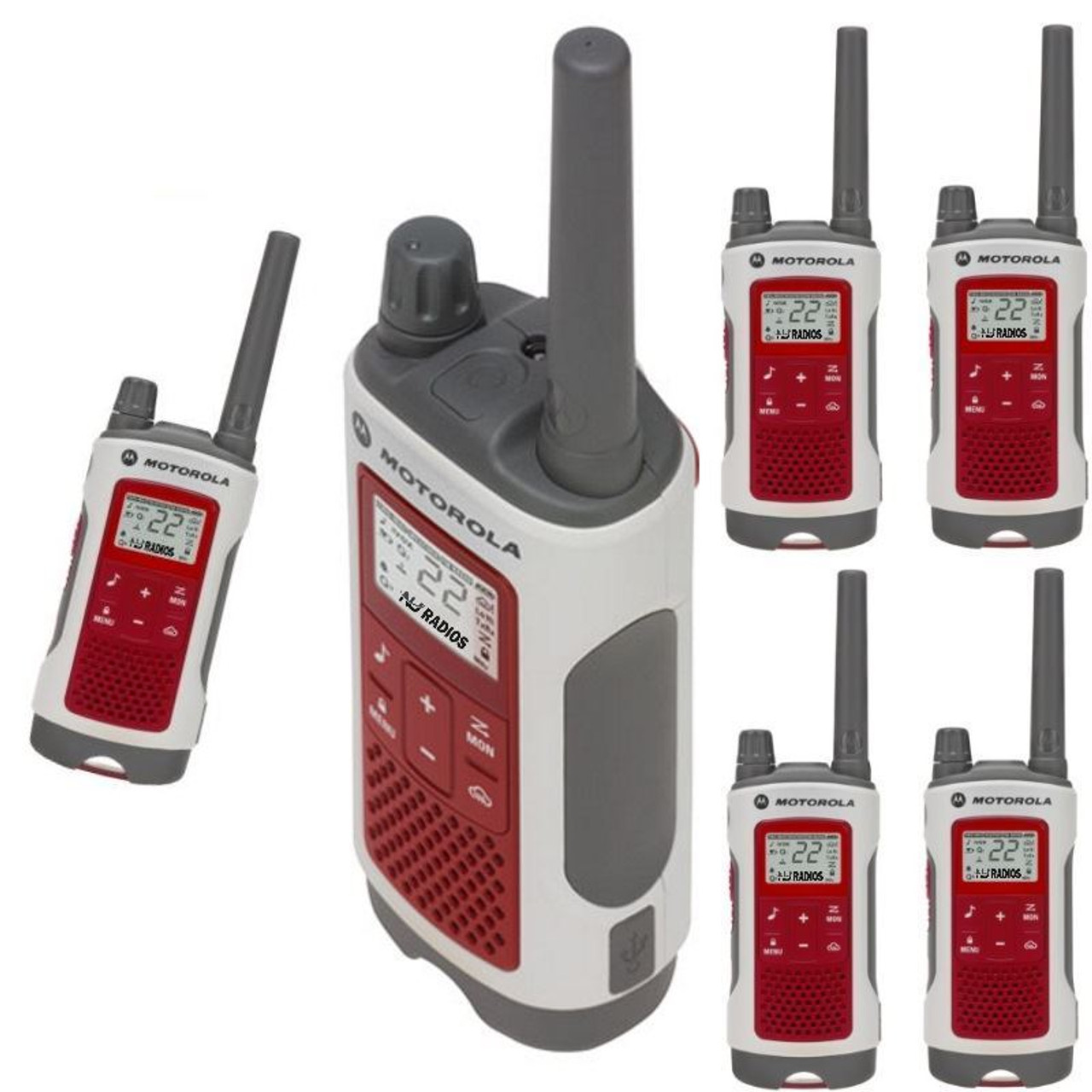 Talkabout T480 FRS/GMRS 2-Way Radios in White/Red 6-Pack