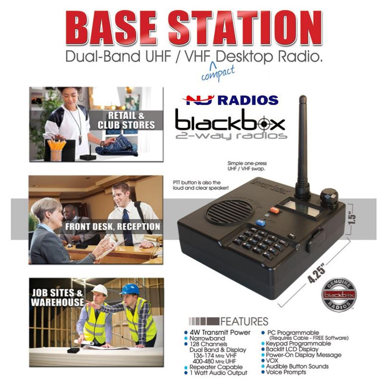Blackbox Base Station UHF VHF 128CH 4 Watt Two-Way Radio
