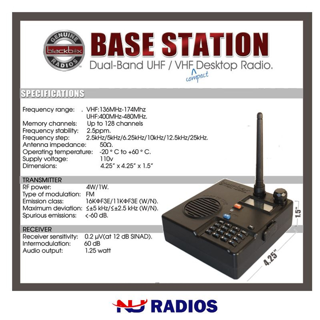 With UHF Whip Antenna X2 CP200D UHF