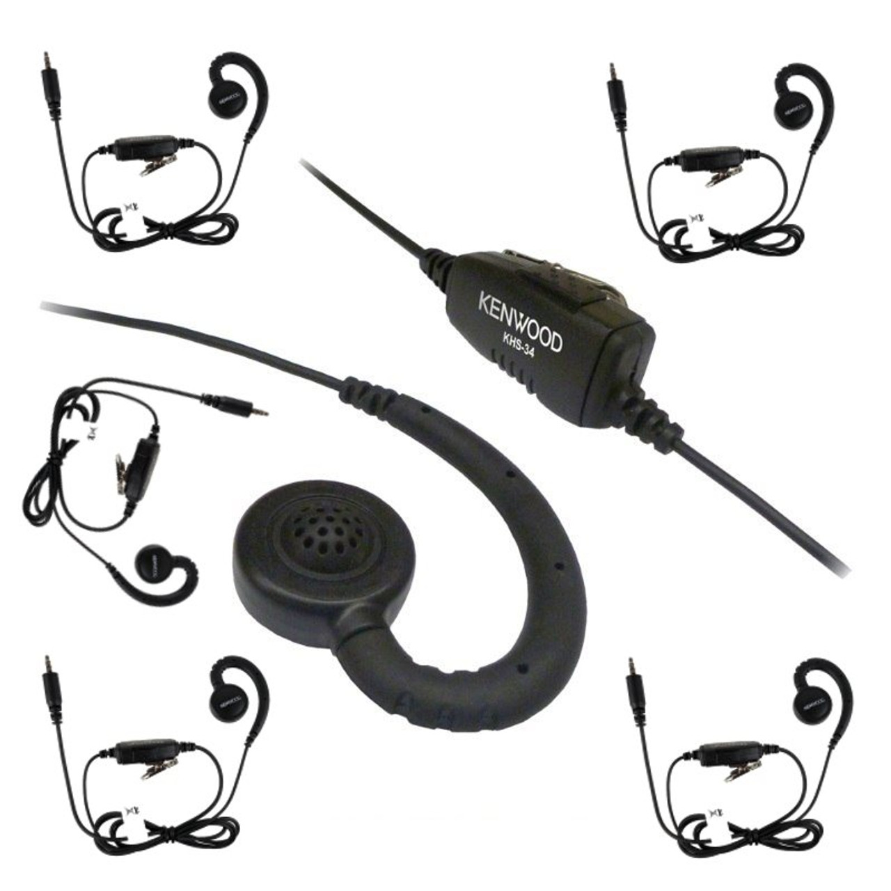 83b2d7e2a41 Get a Six Pack of the Kenwood KHS34 Earhook for PKT-23 Pocket-Sized  Business Two Way Radio UHF two-way radio. The KHS34 is a discrete C-Ring  earpiece with ...