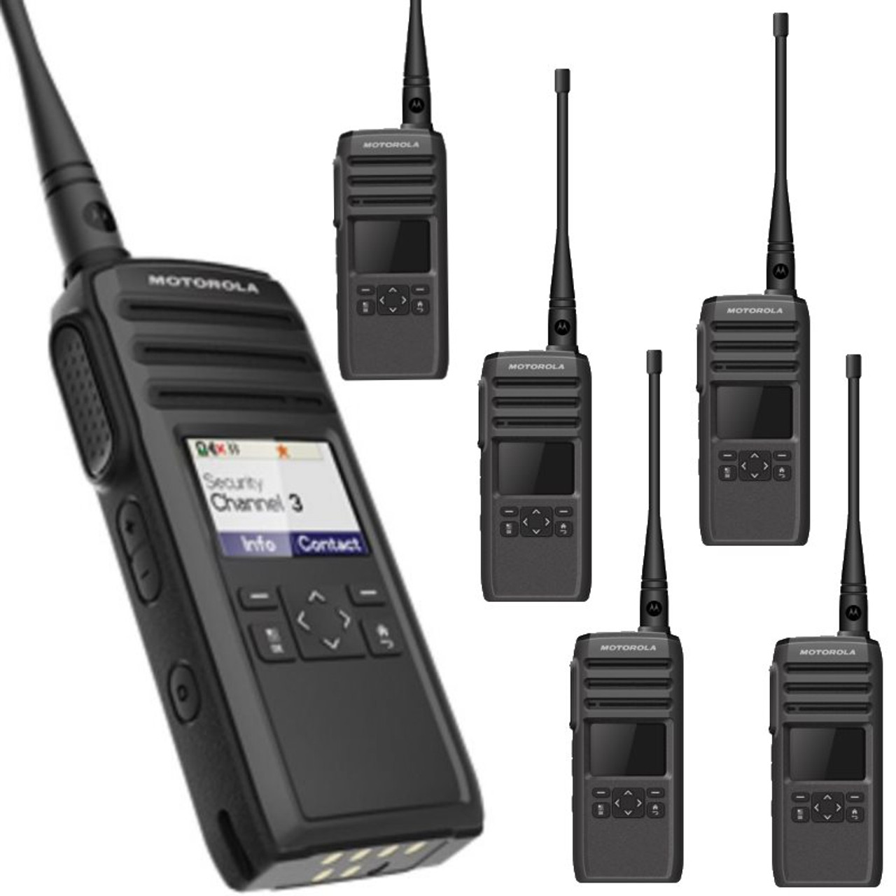 Get Your Six Pack Of LICENSE FREE Motorola DTR700 Digital Two Way Radios For Business With Vibra Call Backwards Compatible The DTR410