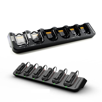 A multi-unit charger for up to six CLP Series radios that provides rapid-speed charging and has LED indicators to show charging status. The charger also has a back pocket for storing earpieces while units are charging. The charger can be wall-mounted for convenience.