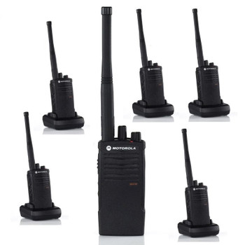 The Motorola RDV5100 two way radio offers 10 channels and 5 watts of power, providing coverage for up to 300,000 square feet or up to 18 floors of an open structure and is designed for outdoor use.