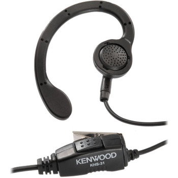 The KHS31C C-ring earpiece is comfortable and lightweight; Earpiece rests outside on left or right ear; In line push-to-talk (PTT) switch and microphone; VOX compatible.