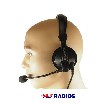 Kenwood KHS7A Single Muff Headset with Boom Microphone is a heavy duty and durable product with built-in PTT button.