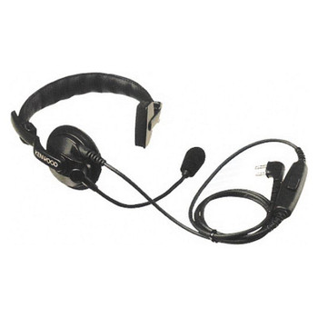 The KHS-7A is a heavy duty but comfortable over-the-top headset that is single earmuff and boom microphone. It contains a flexible boom with an omni-directional mic, PTT button, flexible headband and windscreen.