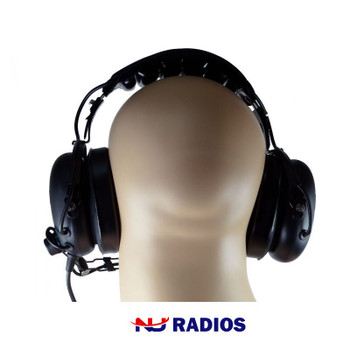 KHS-10-OH is a heavy-duty headset that is perfect for very noisy environments, construction sites... and has an adjustable headband, flexible boom Mic and an in-line push-to-talk.