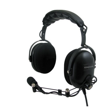 The Kenwood KHS-10OH Dual Muff Noise-Reduction Headset is an over the head style headband and has heavy-duty noise-reduction of up to 24 db (NRR).