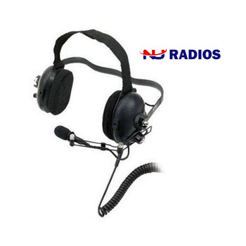 The Kenwood KHS-10BH Dual Muff Noise-Reduction Headset is an over the head style headband and has heavy-duty noise-reduction of up to 24 db (NRR).