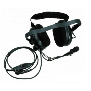 KHS-10-BH fits behind the head is a heavy-duty headset that is perfect for very noisy environments, construction sites... and has an adjustable headband, flexible boom Mic and an in-line push-to-talk.