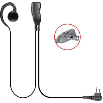The Aftermarket  LMC-1GH-03 Motorola 2-Pin Swivel earpiece can easily work on the right or left ear. Clip-on microphone unit includes PTT and stainless steel clip that rotates 360˚ for easy use.
