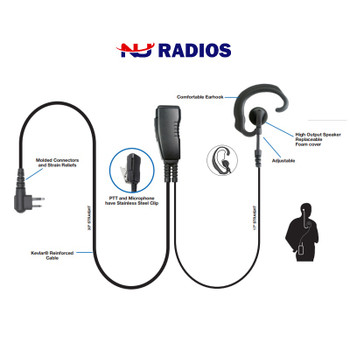 LMC-1EH-01 is an aftermarket Ear-Hook headset with clip-on microphone and includes PTT and stainless steel clip that rotates 360˚ for easy use. The straight cables are very flexible and easy to use. The high quality speaker delivers loud, crisp audio.