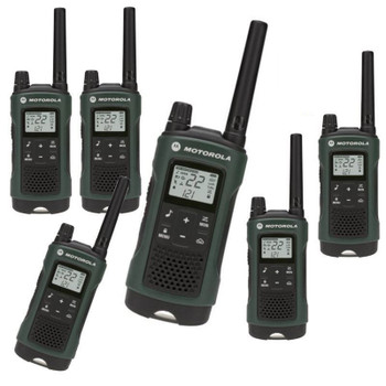 Bonus: Headsets and Carry Case included with this Six Pack of Talkabout T465 radios designed specifically for hunters. Just press the push-to-talk button to easily connect to your fellow hunters and campers in the forest, around the campground and even by the lake.