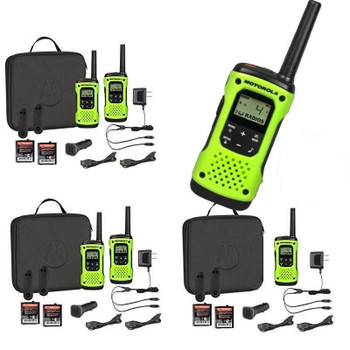 The Talkabout T605 H2O keeps you connected and protected during your extreme outdoor activities. The T605 is packed with top-of-the-line radio features, including the ability to float and a water-activated flashlight plus a carry case and car charger.