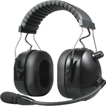 HBB-EM-OHB-01 Series - Dual Earmuff Headset with Aviation Styled (over-the-head) Dual Muff Headset. Flat Black finish. NOW WITH CERTIFIED NRR 24dB fits Kenwood 2-Pin radios like the TK and NEXEDGE series.