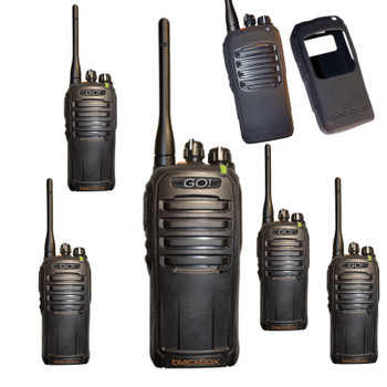 Get a Six Pack of the Blackbox DMR GO UHF radio with battery, charger, antenna, 4 watts of power included.  Affordable and tough, this 16 Channel x 2 Simplex Slots will keep you talking with it's long life lithium ion battery.