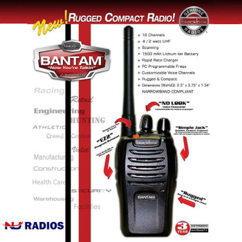 The Bantam Blackbox Radio is a popular, small, rugged radio. Radio available in UHF, 4 watts of power, 16 Channels, VOX and Repeater Capable.