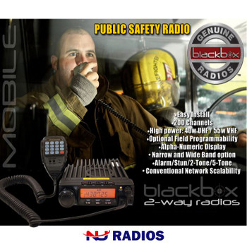 Klein Blackbox UHF Mobile Radio is a high powered public safety grade vehicle radio. Use any frequency in these bands 400 490 mhz UHF.  A DTMF handset is included.
