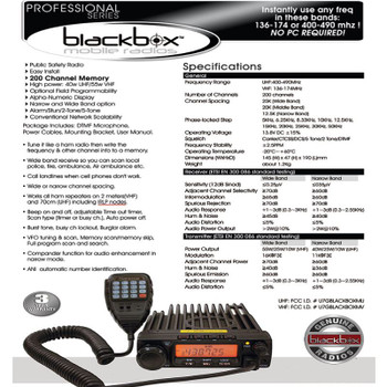 Klein Blackbox VHF Mobile Radio is a high powered public safety grade vehicle radio. Use any frequency in these bands  135 - 174 mhz VHF.  A DTMF handset is included.
