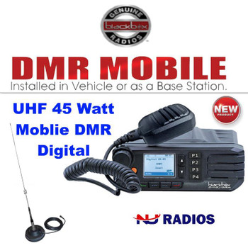 Great value with this Digital DMR GO 45 Watt, 1024 Channel Black Box Mobile Two Way Radios with Magnet Mount UHF antenna and USB Programming Cable included. Save Big!