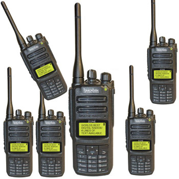 Six Pack of Blackbox ZONE-KP Digital Analog Two Way Radios. This Digital Analog UHF two way radio is feature rich and compatible with MotoTRBO and Hytera series radios. The Blackbox Zone Digital radio is waterproof rated IP65 military grade durability, and is still light weight for easy carry and wear.