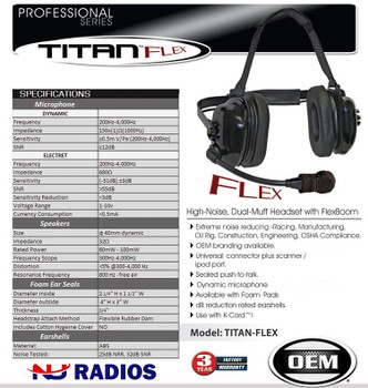 The Klein OEM Titan Flex-Boom is a professional grade dual-muff headset perfect for industrial and warehouse use. This 2-Pin noise reduction headset fits Kenwood Two Pin Radios.