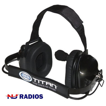 The Titan M-1 FlexBoom Series - Dual Earmuff Headset with a Racing Styled (behind-the-head) Dual Muff Headset. Flat Black finish. Now with NRR 25dB noise reduction. It fits Motorola 2-Pin radios like the Motorola 2 Pin radios like the CLS, DLR, RDx & RMx series.