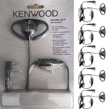 The Kenwood Model KHS-27, D-Ring Headset with In-Line Push-to-Talk Mic features a soft rubber D-ring ear loop hanger with speaker. The ear loop can be used on the left or right ear. It plugs directly into a Protalk radio and offers clear sound.