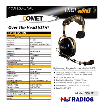 Comet High Noise Headset - Single Muff - Impact rated earshell. Motorola 2-pin cable connector port . Swivel Boom for Left or Right side use . Soft hygienic cover for earpad included.