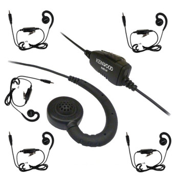 This Six Pack of the Kenwood KHS-34 is a great buy! An in-line push and talk switch Microphone with a small C-Ring Ear hook that rests comfortably on your ear is a favorite with most employee's.