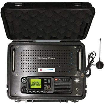 There is no need to re-program you DMR radios with this easy to use, auto-switching repeater that requires no MHZ spread. This Lunch Box uses the same Transmit and receive frequencies that came in your radios. The Lunchbox is made by Klein Electronics and Blackbox Radios.
