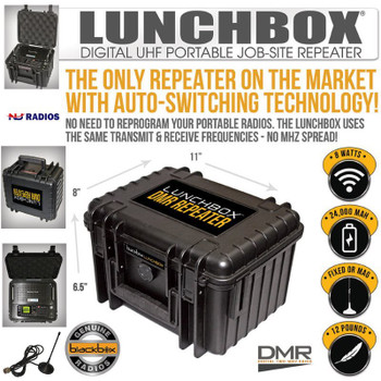The Klein Black Box DMR Digital UHF repeater has 8 watts output power.  This portable Repeater come with a Lithium Ion 24,000 mAh battery can last for days of use.