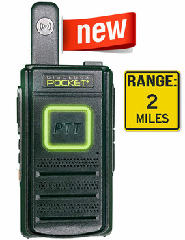 The Black Box Pocket 2.8 Ounce 16 Channels has an Output of 1.5W. Voice Prompt, VOX Function, Scan Function and Scramble Function. Great low cost (under $90) two way business radio.