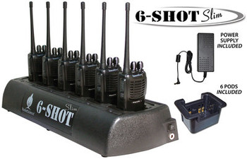 A must have for all your two-way radios. Save your outlets and use this 6 SHOT multi unit rapid charger for centralized, convenient storage and charging. Compatible with Blackbox GO, Blackbox ZONE, Blackbox Bantam and Blackbox PLUS.