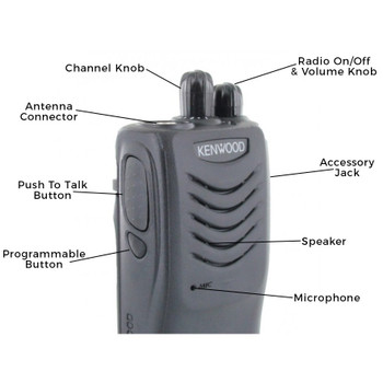Kenwood TK-3000 two way radio offers 16 channels, 4 watts of power and coverage for up to 200,000 square feet, 20 floors, or up to 2 miles