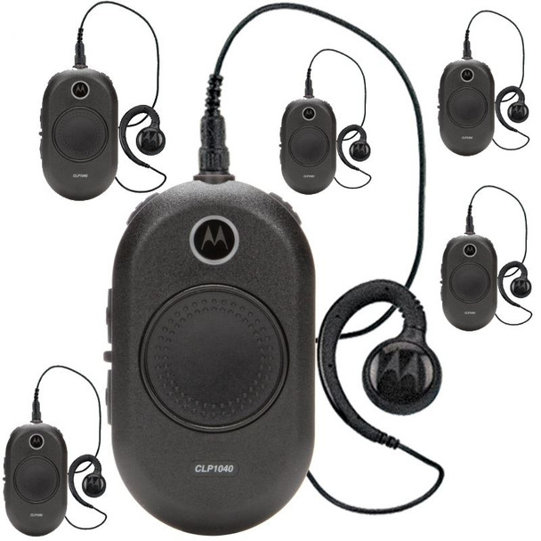 This 6 Pack of CLP radios combines comfort, durability and simplicity in a sleek design. Designed for the retail and hospitality markets, the CLP1040 two-way business radio operates on 4 channels with a choice of 90 UHF business-exclusive frequencies. This palm-sized device redefines the traditional two-way radio.