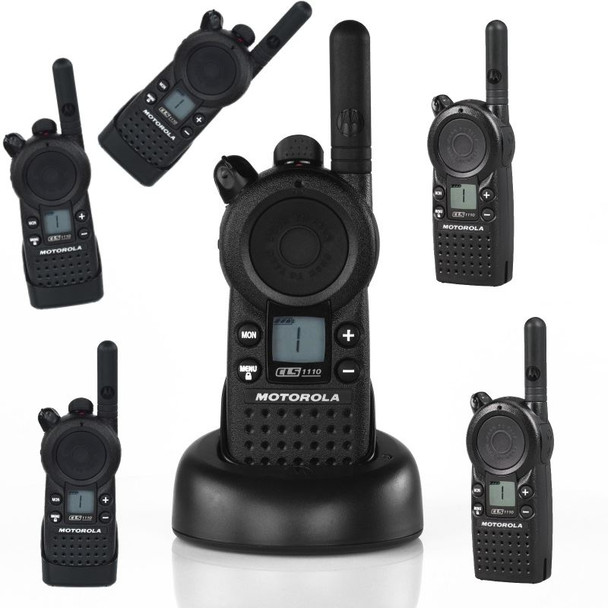 The CLS 1110 six pack of two way radios deliver versatility, expanded communications, enhanced safety and security plus improves response time and maximizing productivity. With little or no training required, Motorola CLS 1110 two way radios are remarkably simple to use, making them ideal for high employee turnover industries.