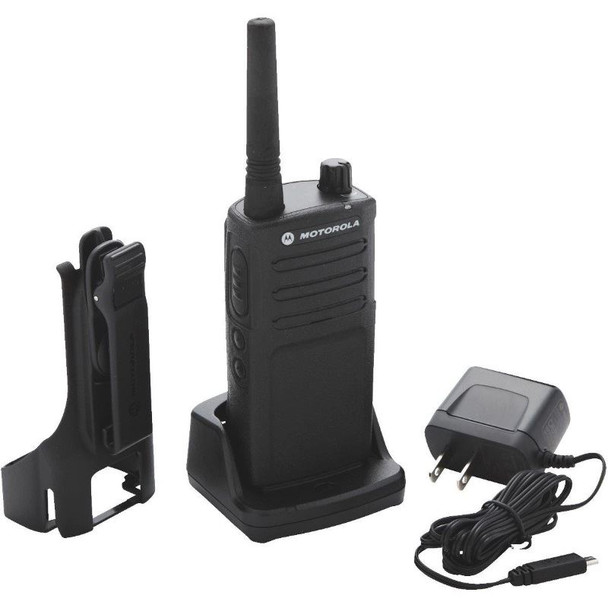 The Motorola RM2040 on-site two-way business radios help you communicate instantly without missing a beat. With crisp, clear audio throughout the workplace and exceptional durability.  The RMU-2040 includes a rechargeable lithium-ion battery as well as a drop-in tray charger. A holster and power supply are also included.