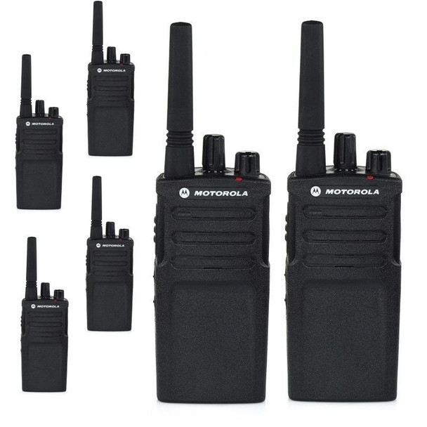 Your RMU2080 6 Pack includes the following: (6) RMU2080 UHF 8 Channel Radios, (6) 2100mAh Li Ion Batteries, (6) Standard Drop-In Charging Tray's and (6) Swivel Holsters with Belt Clips.  Keep your business producing with ease.