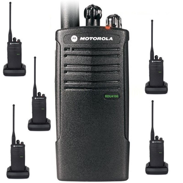 Motorola RDU4100 is ideal for construction, industrial, warehousing, manufacturing, and other business that need durability and power. This six pack really out performs all others when it comes to toughness. With a metal die-cast chassis encased in polycarbonate.